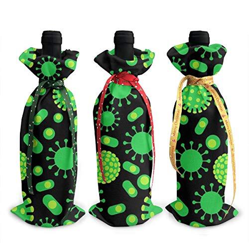 Juego de 3 bolsas de botella de vino – perfecto para regalos de vino de Navidad y otros – Ideal para decoración de fiestas de Navidad – Virus de las bacterias