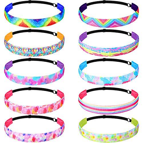 10 Pieces Tie Dye Headbands Non-Slip Mermaid Headband Adjustable Rainbow Hair Bands Elastic Printed Sport Head Bands for Women Girls