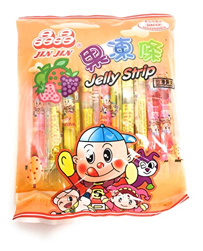 Jin Jin - Jelly Strip (Jelly Filled Straws in Assorted Flavors) - Net Wt. 14.7 Oz.