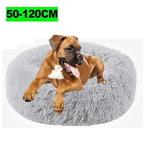 WSGJHB Deluxe-haustierbett,Donut Cuddler Hundebett Hundekissen Für Hund Katzen,Selbstwärmende Runde Atmungsaktiv Flauschige Haustierbett Für Kleine,mittelgroße,große Hunde,LightGray,70cm(28inch)