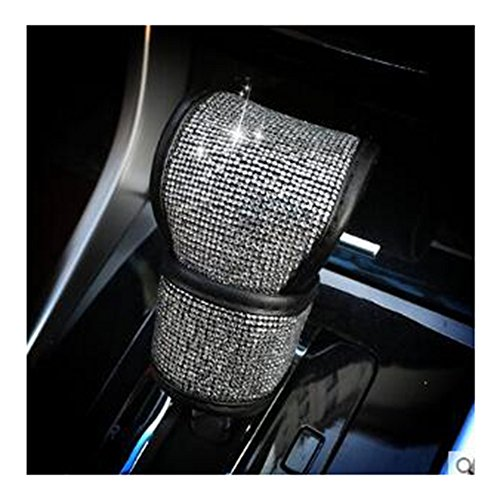 BlingSHD PU Leather Car Gear Shift Cover with Bling Rhinestones Car Accessories Case