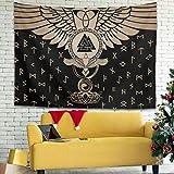 Lind88 Manta de pared impresa con diseño de cuervos vikingos y valknut, color blanco