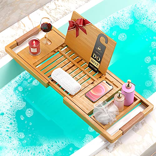 Premium Bathtub Tray [The Longest Bamboo Bath Tray] with Anti-Slip Grips, 1-2 Adults Expandable Bathtub Caddy with Wooden Book Holder, Slots for Candles, Cups, Wine, Phone, Gift Packaging Included