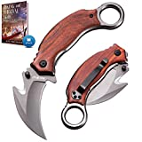Karambit Knife - Karambit Folding Knife - Folding Karambit Knives - CSGO Raptor Claw Knifes Wood Handle with Clip Pocket Krambite - Best Combat Carambit for Hunting Camping Hiking EDC for Men X-52