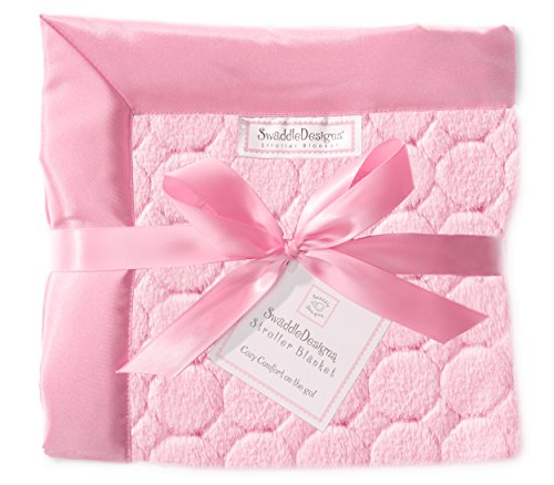 SwaddleDesigns Stroller Blanket, Cozy Microfleece, Pink Puff Circles with Satin Trim