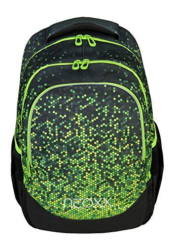 neoxx Fly Schulrucksack Pixel in My Mind - Rucksack für die Schule, Leichter Schulranzen aus recycelten PET-Flaschen, Schultasche für Mädchen und Jungen