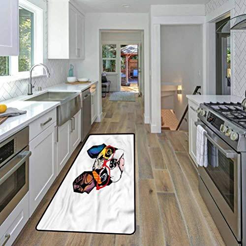 Art Polyester Indoor Doormat Low-Profile Floor Door Mat French Bulldog Portrait Hipster 46 x 35 Inches
