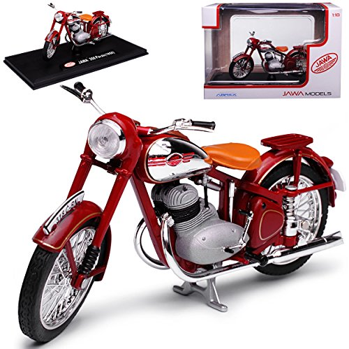 Abrex Jawa 350 Perak 1950 Dunkel Rot Braun 1/18 Modell Motorrad