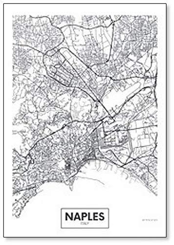 Imán para nevera con diseño de mapa de la ciudad de Nápoles