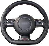 LIUJTAO - Funda para volante de coche de piel negra para Audi TT TTS 8J 2006-2014 A3 S3 8P Sportback 2008-2012 R8 42-Red_Thread
