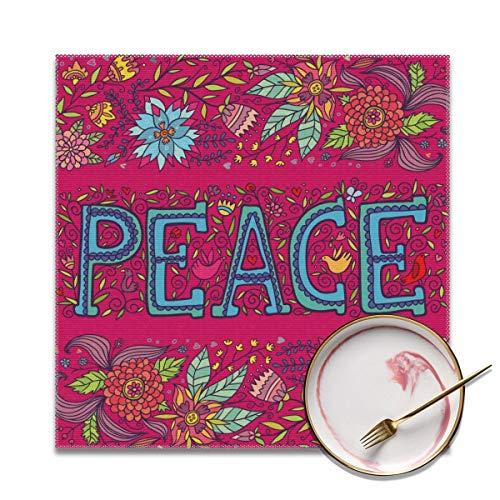 Houity Mooie Heldere Roze Kaart Met Het Woord Vrede Wasbaar Zacht Voor Keuken Diner Tafelmat, Gemakkelijk Te Reinig Handige Opvouwbare Opslag Placemat 12x12 Inch Set Van 4