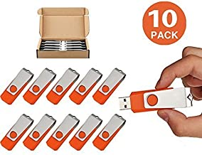 TOPSELL 10 Pack 16GB Bulk USB Flash Drive USB Thumb Drive Memory Stick Fold Data Storage Pen Swivel Design JumpDrive (16G, 10PCS, Orange)