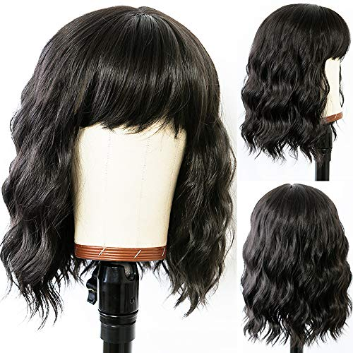 ANDRIA Short Bob Wigs with Bangs for Black Women Short Curly Wigs Glueless Natural Wavy Wig Synthetic Heat Resistant Fiber Hair Bob Wig With Bangs Black Wigs for Women Black Hair Short Wavy Wigs 16 Inches