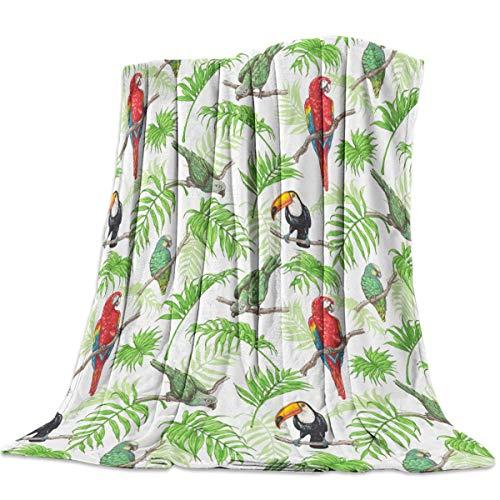 Manta de Franela 125X100cm,Manta Felpa Suave Shaggy Fleece, Lavable a máquina, Manta de Tiro para niños Adultos Manta de Franela Impresa (Loro Aves Tropicales)