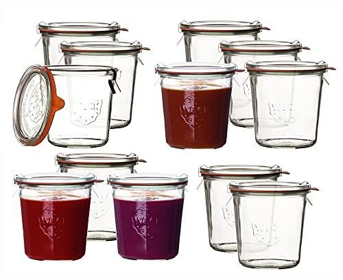 Weck bicchieri tumbler, set da 4-24vasetti da conserva disponibili in diverse misure e forme dal profilo circolare 12 x Sturzglas 500ml Komplett , transparente