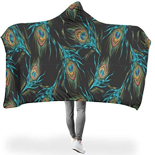 O5KFD & 8 oversized met capuchon deken, blauwe pauwenveren, patroon, zwart, microvezel, zacht, warm, draagbaar, geschikt voor kantoor