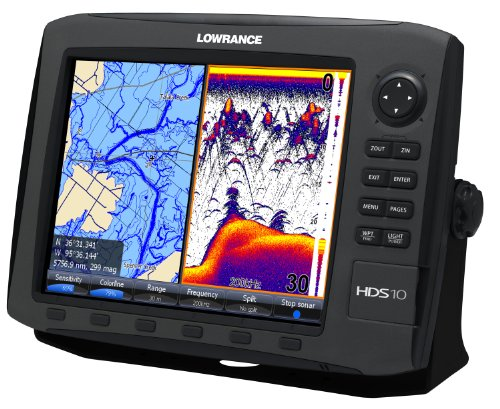 Lowrance HDS-10 GEN2 Plotter/Sounder, with 10.4-inch LCD, Insight USA Cartography, and 50/200KHz Transducer.