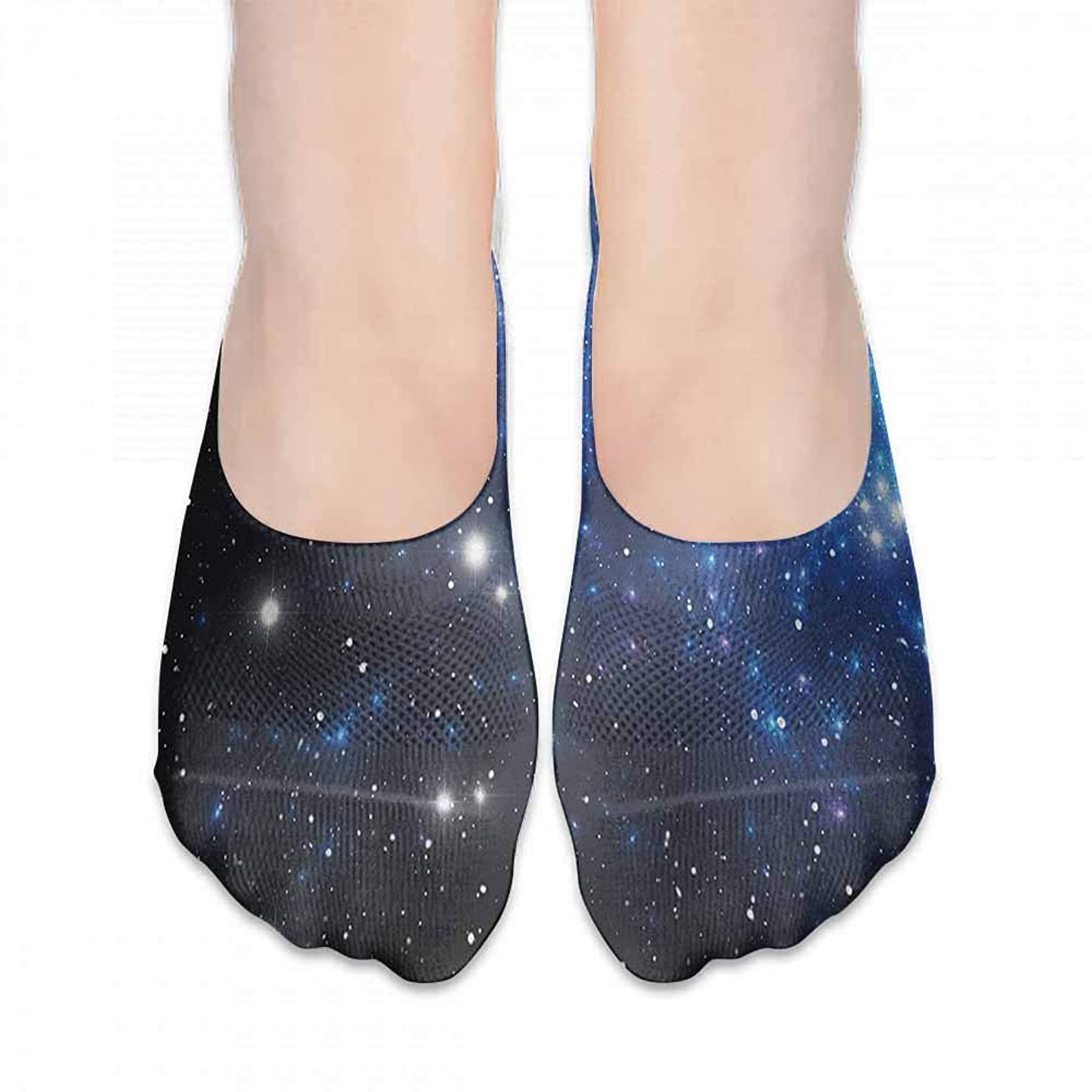 Running Fitness CrossFit S~XXL Constellation,Outer Space Star Nebula Astral Cluster Astronomy Theme Galaxy Mystery, Blue Black White,socks women low cut no show