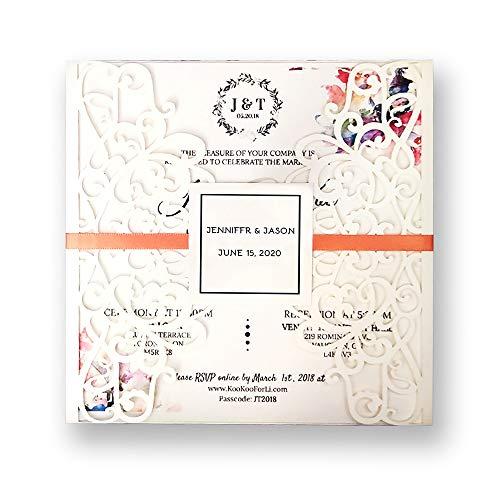 50 kits de invitaciones de boda rústico blanco barato con sobres de cintas, tarjetas en blanco en el interior personalizadas DIY fiesta de cumpleaños invitación