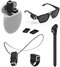 OPKIX One X Bundle - Men's - White Smart Egg - Two Black Wearable Video Cameras + Mounts: Rec - Gloss Black/Grey Sunglasses, Black OS Ring, Black Necklace, Black Selfie Stick, 4 Flat Plates