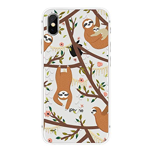 iPhone X Case/iPhone Xs Case,Blingy's Fun Sloth Style Transparent Clear Soft TPU Protective Case Compatible for iPhone X and iPhone Xs (Sloths in Trees)