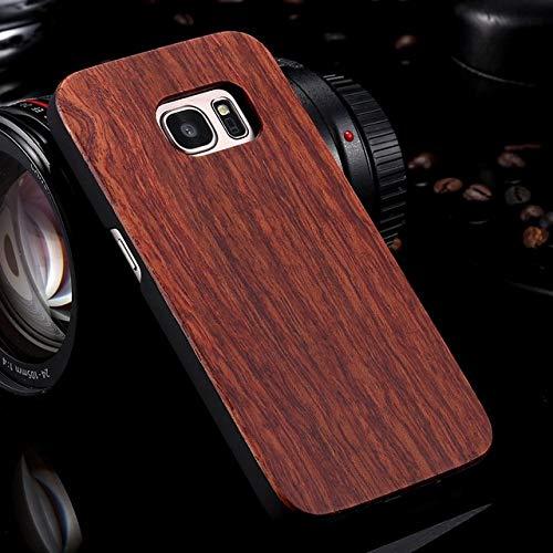 SCBJBZ Funda para Samsung Galaxy S8 S9 Plus Funda de Madera Real para Samsung S9 S7 S6 Edge Fundas Cubierta Madera Bambú Accesorios para teléfonos para Samsung S7 Rosewood