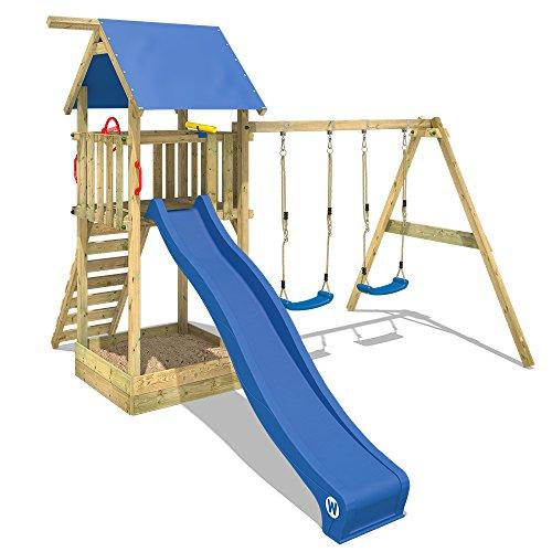 WICKEY Spielturm Klettergerüst Smart Empire mit Schaukel & blauer Rutsche, Kletterturm mit Sandkasten, Leiter & Spiel-Zubehör