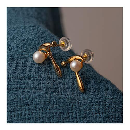 KGDC Earrings Hammer Element Natural Freshwater Pearl Earrings Female Personality Niche Design Sense Ear Stud Jewelry