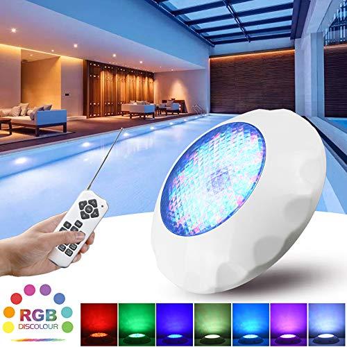 SUNSHIN Lámpara de Piscina subacuática con luz RGB de 7 Colores, Control Remoto IP68 de 18 Teclas, para Piscina al Aire Libre, decoración de iluminación del Acuario (batería no incluida)