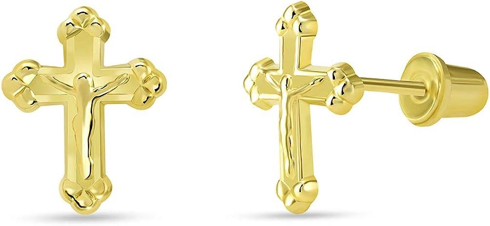 14k Yellow Gold Christian Cross wit Stud Earrings Max 46% OFF Crucifix Jesus Louisville-Jefferson County Mall
