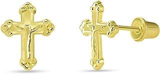 14k Yellow Gold Christian Cross Jesus Crucifix Stud Earrings with Screw Back