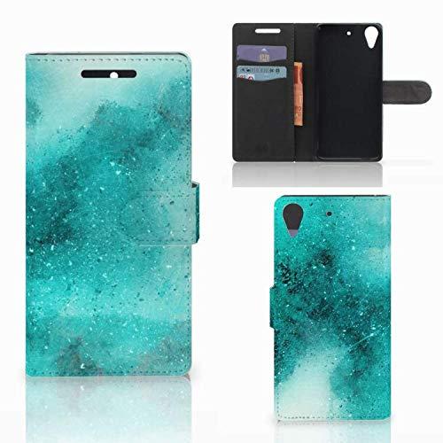 B2Ctelecom Hülle für HTC Desire 628 Tasche Malerei Blau