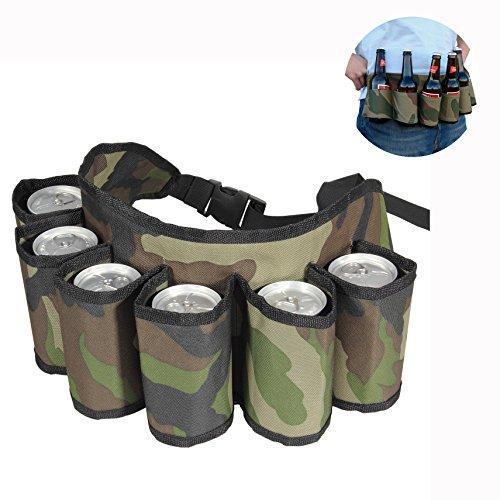 Cisixin Militärtarnung Outdoor Band Bier & Soda Kann Gürtel Hält 6 Getränke Camouflage Grun Belt Outdoor Besteck