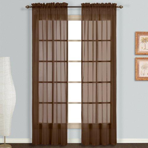 United Vorhang Monte Carlo Sheer Fenster Vorhang Panel, 118by 63-inch, Schokolade, 2Stück