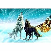 ジグソーパズル大人用1000ピース、子供用パズル1000ピース異なる色の2匹のオオカミ大人用の挑戦的なゲームギフトおもちゃキッズティーンファミリーパズル75x50cm