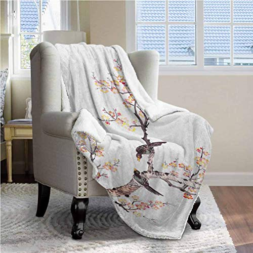ParadiseDecor 60'x80' Art Decorative Blanket Fit Couch Fleece Reversible Blanket for Bed Traditional Chinese Paint of Flowers Plum Blossom Birds on Tree Romance Print Pale Yellow Brown