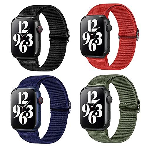 Harikiri Nylon Solo Loop Correa compatible con Apple Watch Bandas 38 mm 40 mm 42 mm 44 mm, pulsera elástica deportiva trenzada ajustable para mujeres y hombres para iWatch Series 6/5/4/3/2/1 / SE