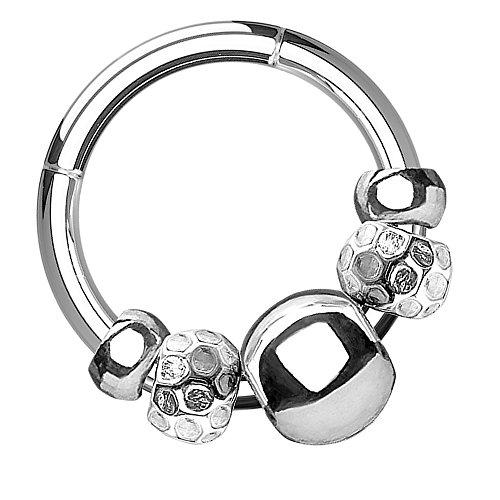 Piersando Universal Piercing Ring Clicker für Septum Tragus Helix Ohr Nase Lippe Brust Intim Tribal mit beweglichem Beads Perlen Anhänger Silber