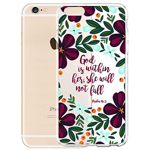 iPhone 6 Plus/6s Plus 5.5 Case,Christian Quote God Is within Her,She Will Not Fall Clear Soft TPU Shock-Proof Protective Case