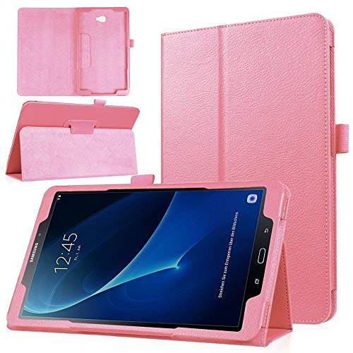 QiuKui Tab Funda para Samsung Galaxy Tab E 9.6', Ultra Slim Aponsproves Protect Case PU CUERTURO DE Cuero DE Cuero PUBLO para para Samsung Galaxy Tab E 9.6' SM-T560 T561 (Color : Pink)