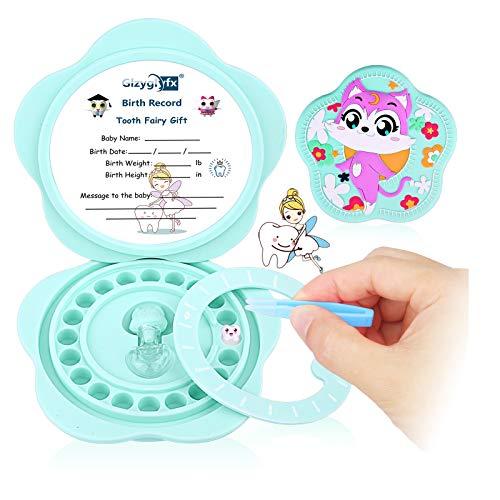 Scatola per denti per bebè, materiale in silicone per bambini, organizer per bambini per denti da latte, simpatico contenitore per denti per bambini, con pinzette e bottiglia di lanugine (Blu)