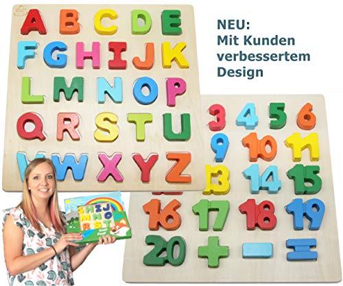 EasY FoxY ToY Alphabet-ABC-Holz-Puzzle 2Pack Zahlen 1-20 Buchstaben Nummern Kinder-Holzspielzeug Ab 2 3 Jahre; Pädagogisches Spielzeug Für Spielerisches Lernen Motorik; Geschenk für Mädchen Jungen