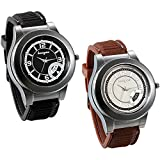 JewelryWe Pack of 2 Newest Men USB Electronic Rechargeable Windproof Flameless Cigarette Lighter Watch Novelty Windproof Black Brown