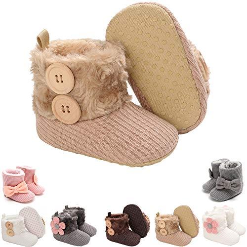 Newborn Baby Girls Premium Winter Snow Boots Cotton Anti-Skid Sole Infant Toddler Prewalker Booties Crib Shoes