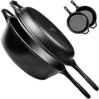Cuisinel Pre-Seasoned Cast Iron 2-In-1 Multi Cooker