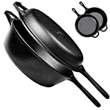 Pre-Seasoned Cast Iron 2-In-1 Multi Cooker - 3-Quart Dutch Oven and Skillet Lid Set Oven Safe Cookware - Use As Dutch Oven and Frying Pan - Indoor and Outdoor Use - Grill, Stovetop, Induction Safe