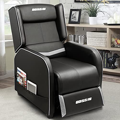 BOSSIN Gaming Recliner Chair Racing Style Single Recliner Living Room Sofa PU Leather Recliner Ergonomic Chair Sofa for Living Home Theater Seating (White)