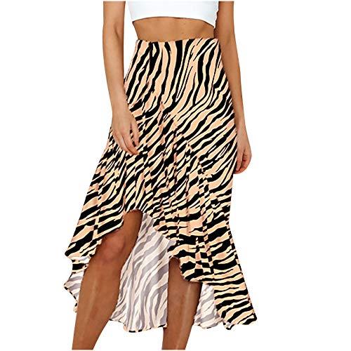 TYTUOO Falda maxi midi elástica de cintura alta con abertura en una línea de volantes, estilo bohemio, estampado de leopardo, C-caqui, 52