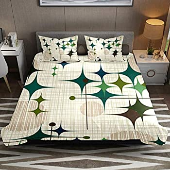 NO 3 Piece Bedding Sets Mid Century Modern Starbursts and Globes Duvet Cover Set Queen Size 90   x 90   Comforter Set Home Decor for Bedroom Girls Boys Kid s Room with 2 Pillow Cases