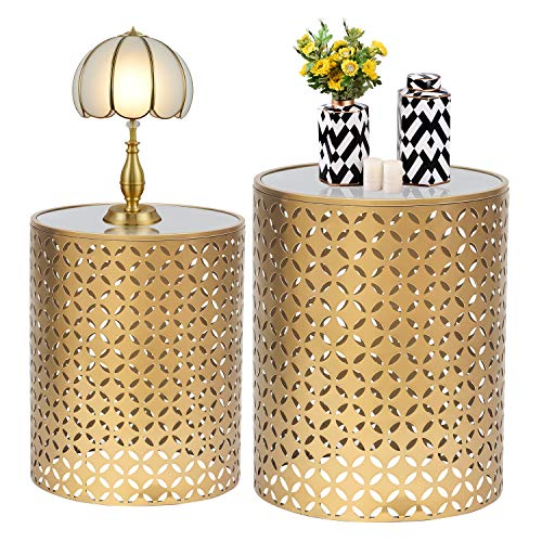 Adeco Set of Two Home Garden Accents Circle Wired Round Iron Metal Nesting Stool Side End Table Plant Stand, Bubble Pattern, for Indoor Outdoor(Black) (Gold)